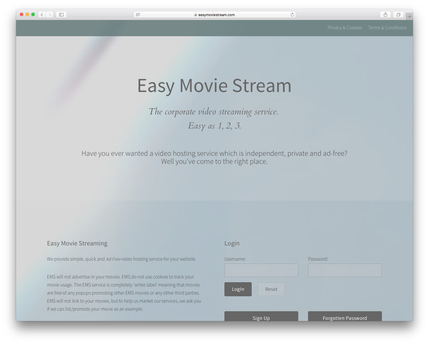 CHP graphic design & website for easy movie stream