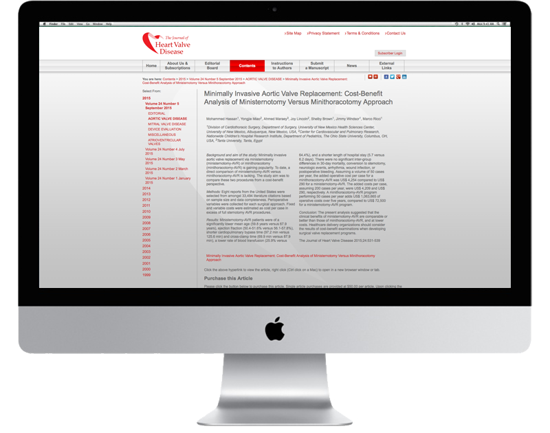 CHP Design Agency - website for the Journal of Heart Valve Disease
