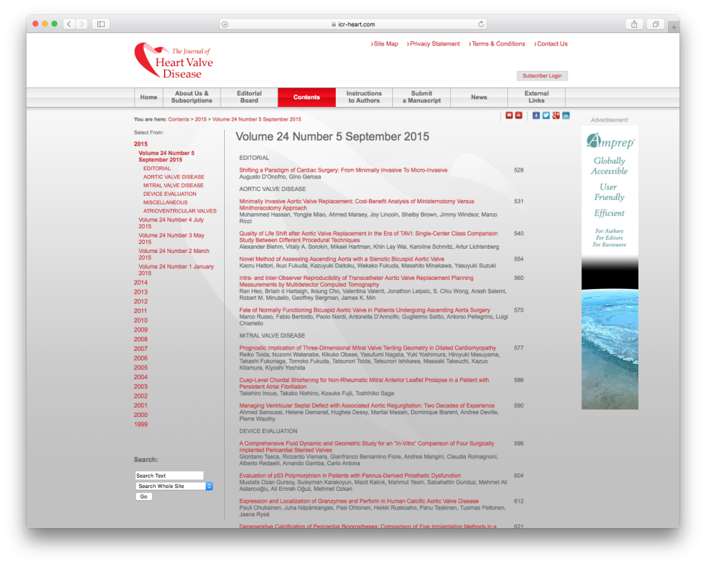 CHP graphic design & online branding for the Journal of Heart Valve Disease