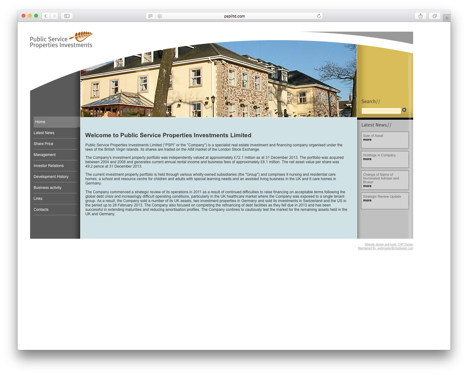 CHP Graphic Design and website for Investor Relations