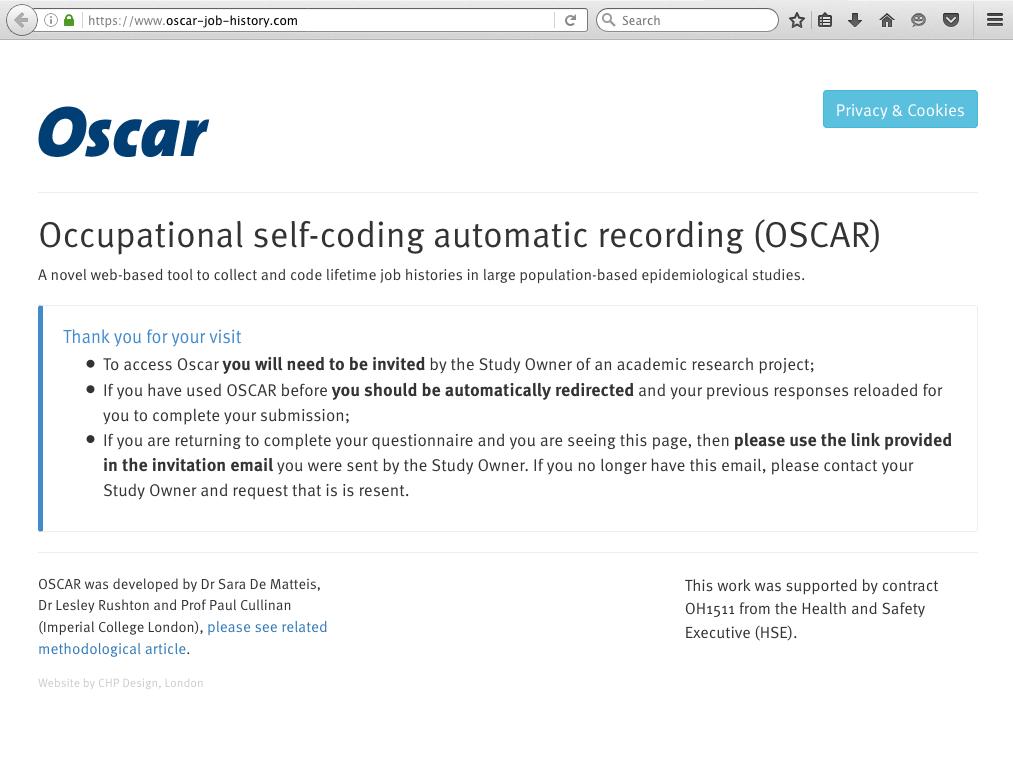 Occupational self-coding automatic recording (OSCAR) web application